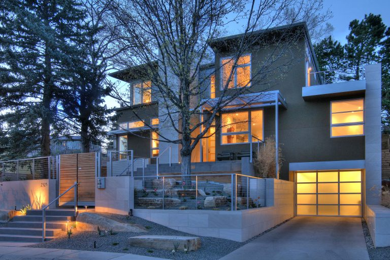 Gunderson Residence Glowing Front Facade at Dusk